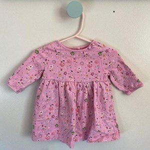 Baby Girls Long Sleeve Pink Floral Dress